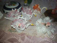 Bomboniere artigianali fatte all'uncinetto..cigni e ogni oggetto