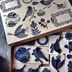stamp the top of the box, so you know what stamps are stored inside. stamp the top of the box, so you know what stamps are stored inside. Stamp Printing, Screen Printing, Stencil, Stamp Carving, Handmade Stamps, Ink Stamps, Linocut Prints, Bird Art, Printmaking