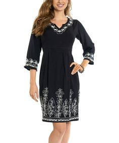 Black & White Embroidered Empire-Waist Dress by Luv2Luv #zulily #zulilyfinds
