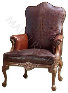 Custom Made Brown Crocodile Leather Club Chair With Nail Head Accents And  Carved Wood