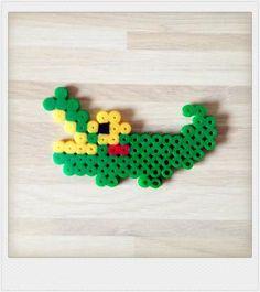 Pyssla bead crocodile bubble charm