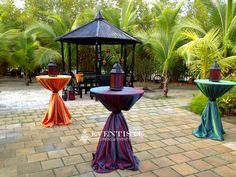 Galaxy Linen (Purple, Orange, and Green), Moroccan styled lanterns, and black table wraps – Read More – Arabian Nights Prom, Arabian Party, Arabian Nights Theme, Arabian Decor, Moroccan Theme Party, Moroccan Decor, Moroccan Style, Dinner Themes, Party Themes