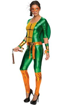 """TMNT Michelangelo Ladies Jumpsuit - Calgary, Alberta. This Michelangelo costume is an amazing option for a group TMNT costume, for Halloween or parties! Bring down Shredder and the bad guys in this fun Michelangelo Teenage Mutant Ninja Turtle Costume costume. The Michelangelo costume is a foil fabric jumpsuit. It has half length sleeves and stirrup pant legs. The front has the yellow turtle chest. with a orange ribbon bow around the waist with a """"M"""" patch."""