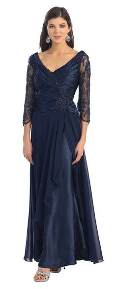Long Sleeve Mother of the Bride Plus Size Formal Dress