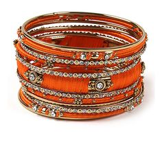 Amrita Singh Austrian Crystal & Orange Ankara Bangle Set ($12) ❤ liked on Polyvore featuring jewelry, bracelets, orange jewelry, bracelets bangle, orange bangle bracelet, amrita singh jewellery and stacking bangles