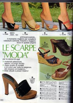 70s Women Fashion, 70s Inspired Fashion, Seventies Fashion, Retro Fashion, Vintage Fashion, Wooden Sandals, Wooden Clogs, 1980s Shoes, Boogie Shoes
