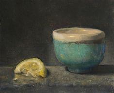 """Duane Keiser """"Tea Bowl with Lemon Slice, 4/3/2008,"""" oil/linen, 6″x5″"""