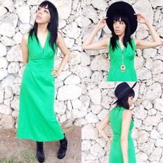 Vintage 70s Green Polyester Maxi Dress S//M $60.00 https://www.etsy.com/listing/198748784/vintage-70s-green-polyester-maxi-dress-s?ref=listing-shop-header-1