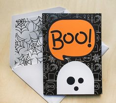 Boo Graphic Ghost, Card & Envelope – Rob & Bob - A fun mix of graphic icons and playful pattern make this holiday card a treat! Use our digital spider web pattern to create the envelope for a complete custom look. DIY Halloween Card Ideas - Designed by Rob and Bob, Make it now with Cricut Explore