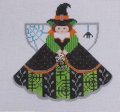 Painted Pony Designs Witch & Web Angel 996GW Hand Painted Needlepoint Canvas