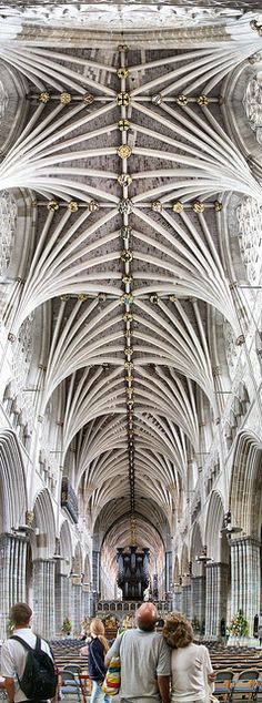 Stunning Ceiling - The longest uninterrupted medieval vaulted ceiling in the world.  Exeter Cathedral, Devon, England. Years Built 1112 -1400 | Photo by Matt Bigwood.