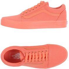 Vans Low-tops & Sneakers ($63) ❤ liked on Polyvore featuring shoes, sneakers, vans, salmon pink, flat sneakers, pink shoes, leather trainers, vans sneakers and low profile sneakers