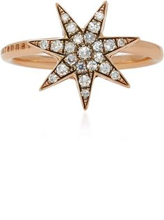 Selim Mouzannar Star Ring In Pink Gold Set With Diamonds