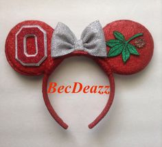 Ohio State University Buckeyes Minnie Mouse ears headband