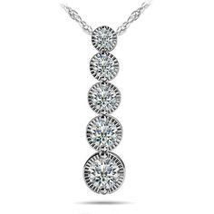 Milgrain Diamond Drop Pendant in White Gold (1/2 ctw) Proudly made in the USA, this diamond journey pendant features five round cut graduated diamonds (0.03ct - 0.25ct) that are prong set with milgrain detailing and suspended by a white gold cable-link chain. Approximately 1/2 carat total weight.