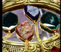 Real gemstones! geode necklaces  remind me of meema