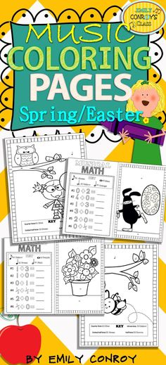Spring/Easter Music Coloring Pages-96 color by note and music math coloring sheets. These are great for integrating math in the music room!
