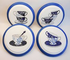 Coffee decor coffee plates set coffee kitchen by PaperPlateArt | Coffee Break ? | Pinterest | Coffee kitchen decor Coffee and Kitchen decor  sc 1 st  Pinterest : coffee plates decor - pezcame.com
