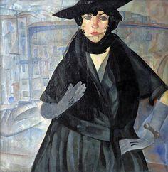 artishardgr:  Boris Grigoriev - A Lady in Black1917