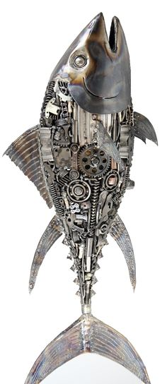 metal fish sculpture. recycled metal art. contact Mari9art
