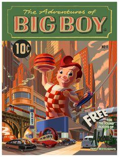 Cool Art: 'Big Boy' by Laurent Durieux Laurent Durieux, Big Boy Restaurants, Poster Prints, Art Prints, Poster Ads, Pop Culture Art, Retro Advertising, Retro Futuristic, Alternative Movie Posters