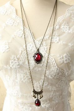Victorian necklaces -  Gothic Chic Women s Beads Drop Pendant Layered Sweater Chain Necklace  AT vintagedancer.com