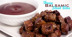 Honey Balsamic Steak Bites - Devour Dinner. Wonderfully delicious sirloin steak bites marinated in a honey balsamic sauce. Dip into your favorite dipping sauces for the perfect combination. Perfect as an Appetizer or main course entree. Easy to follow recipe you will enjoy.