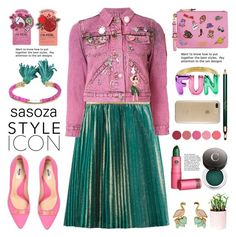 """""""OOTD by Sasoza"""" by sasooza ❤ liked on Polyvore featuring Gucci, Marc Jacobs, TONYMOLY, Moschino, Chantecaille, Clarins, Kjaer Weis, Aurélie Bidermann, Kate Spade and Lipstick Queen"""