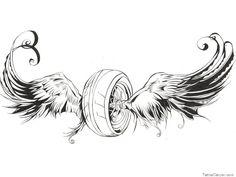 Ideas For Motorcycle Tattoo Flash Art Biker Tattoos, Motorcycle Tattoos, Dad Tattoos, Motorcycle Art, Bike Art, Sleeve Tattoos, Tattoos For Guys, Motocross Tattoo, Flash Art Tattoos