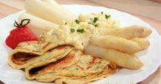 Spargel mit Eiersauce und Kräuterpfannkuchen