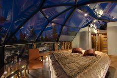 Levi Igloos, Lapland, Finland - heated glass roofs and rotating bed for watching the aurora borealis