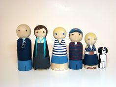 Large Wooden Peg Family of 6  Personalized Custom Hand by Pegged, $75.00