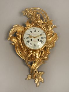 [Click on image to enlarge]  	  A Very Fine Late 19th Century Louis XV Style Gilt Bronze Cartel Clock  By Paul Sormani