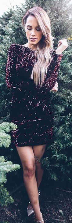 Burgundy Sequin Dress for New Years! #Styled #Fall Trends #Fashionistas