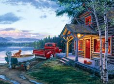 Cabin Fever by Darrell Bush This is perfect except the dog should be black and 2 of them!!!