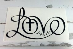 Tumbler ideas LOVE John Decal Sticker 3 x 5 inches by KWDelights on Etsy Vinyl Crafts, Vinyl Projects, Cricut Vinyl, Vinyl Decals, Monogram Car Decals, Monogram Tattoo, 16 Tattoo, Tattoos Infinity, Bibel Journal
