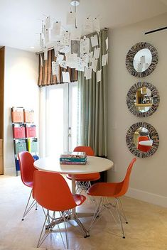 orange eames chairs