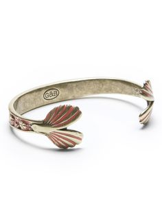 Giles & Brother Mermaid Tail Cuff Bracelet in Brass & Red