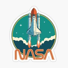 'NASA Vintage Space Shuttle Logo' Sticker by ericbracewell - NASA Vintage Space Shuttle Logo Sticker Source by - Orion Nebula, Andromeda Galaxy, Nebula Wallpaper, Space And Astronomy, Nasa Space, Vintage Space, Space Shuttle, Space Travel, Grafik Design