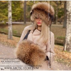 russian raccoon hat - coon fur hand-muff - arctic-store