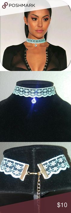 Blue Lace Diamond Choker Lace with Diamond choker. Adjustable to your size.  Same day shipping Jewelry