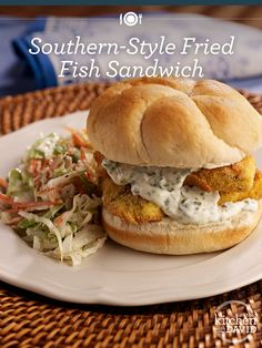 Southern Style Fried Fish Sandwich Recipe Qvc Com - Southern Style Fried Fish Sandwich Makes Sandwiches Davids Note A Fried Fish Sandwich Makes Me Think Of The South And I Love A Full Platter With The Coleslaw And Tartar Sauce Makes Fish Dishes, Seafood Dishes, Fish And Seafood, Main Dishes, Sandwich Recipes, Fish Recipes, Seafood Recipes, Cooking Recipes, Cajun Recipes