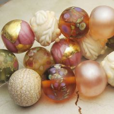 Lampwork Glass Bead Set Organic Etched by StoneDesignsbySheila, $106.00