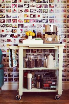 Coffee corner for the kitchen with different pictures on the wall. Love it.