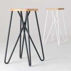 Mathematical models of 'orderly tangles' informed the twisting leg design of this bar stool by Clark Bardsley Design. Clark used a combination of digital and handmade fabrication techniques to build the bar stool, which is produced by Essenze. The solid pine seat is CNC machined to create the angles for the powder coated steel legs. The legs double back on themselves using a specially developed wrinkle bending process. As well as creating a surprisingly light and strong structure, the ...