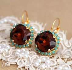 14k Yellow Gold Plated Stud #Earrings With Swarovski Turquoise Crystal #Stud