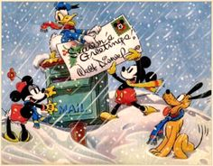 1936, Vintage Disney Christmas card from Disney Studios