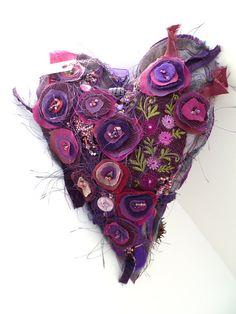 Purple heart V large fibre art ornament by Mirjana Cesar <3