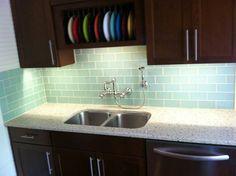 Aqua Glass Subway Tile Kitchen backsplash Subway tiles and Aqua