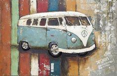 Schilderij 3D metaal VW Bus Blauw